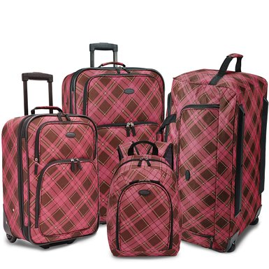 U.S. Traveler Contrast Plaid 2-Piece Luggage Set