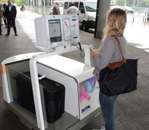 Leo the luggage robot at the Geneva Airport in Switzerland