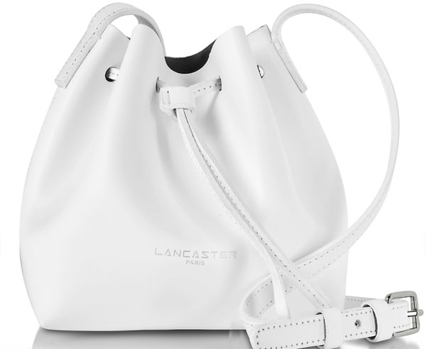 Lancaster Paris Pur Smooth Optic White Mini Bucket Bag