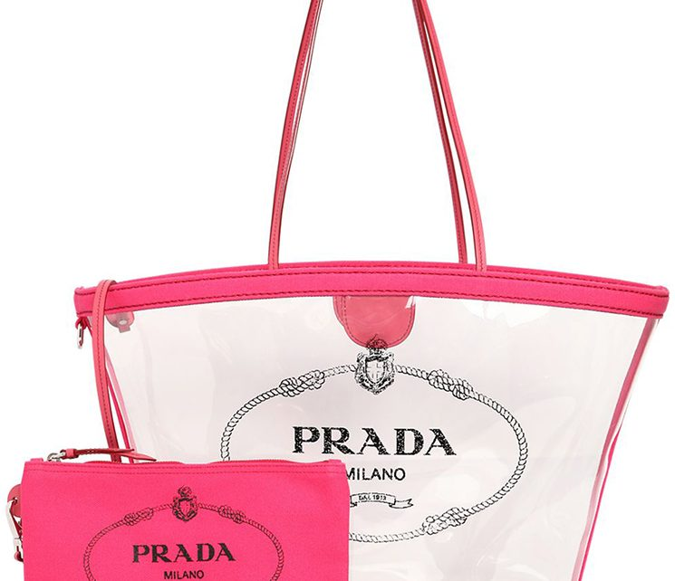 704586cca6b1e9 Prada Logo PVC Tote Bag - Big Fan of Fashion Handbags and Luggage