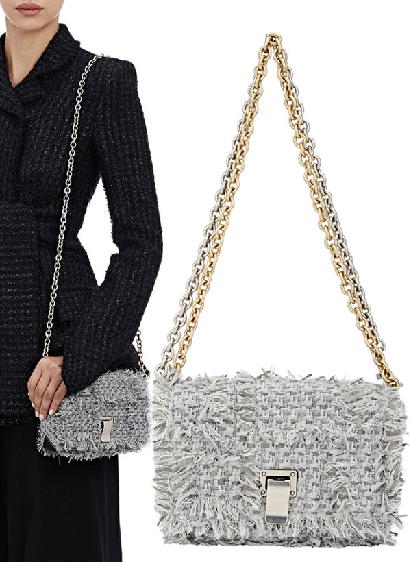 Same Bag Different Price: Proenza Schouler Z Crossbody Orologi PS Courier Frayed Tweed Purse